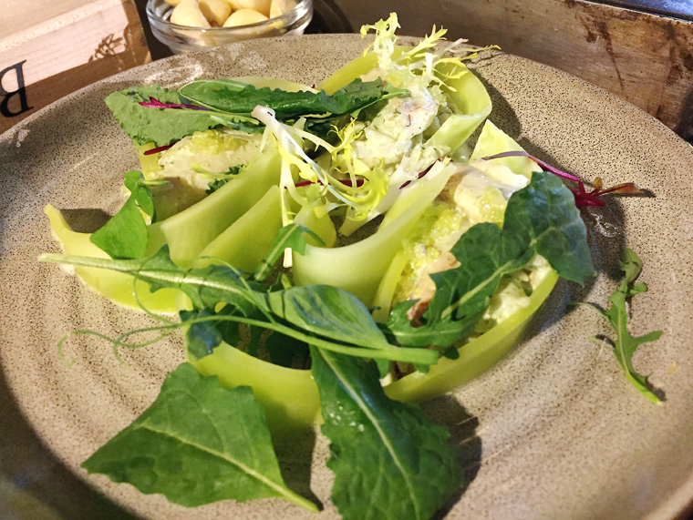 Celtuce salad with Dungeness crab.