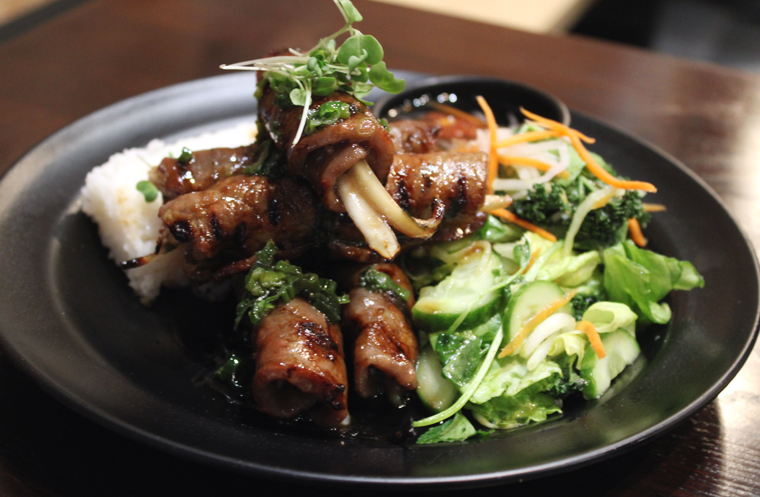 Grilled beef onion rolls that you can enjoy with rice, noodles or salad.