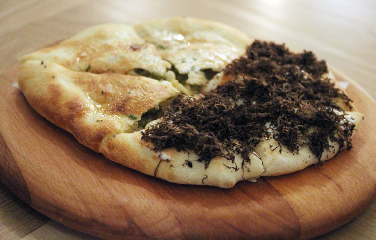 Kulcha with jalapenos (left) and truffles (right).