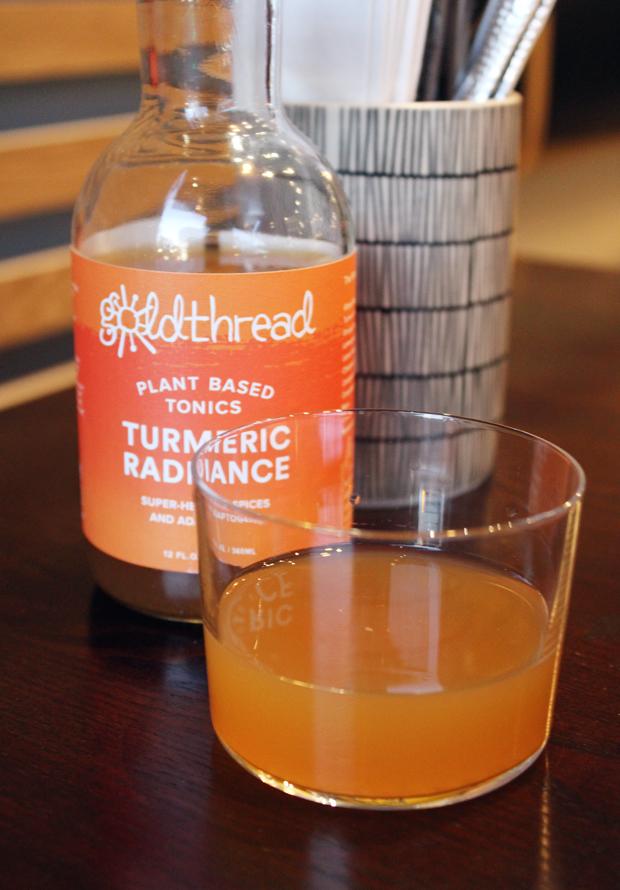 A non-alcoholic turmeric soda.
