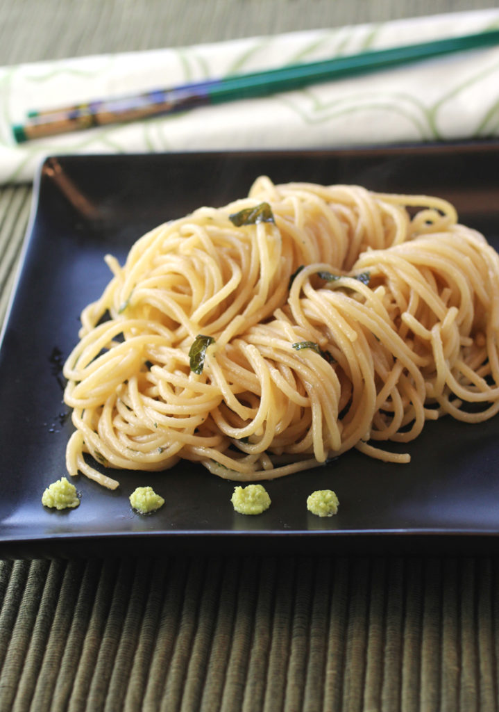 A plain looking pasta turned irresistible with soy sauce, wasabi, and butter.