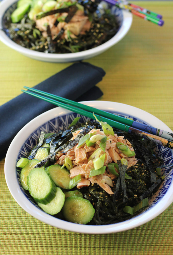 A Japanese-style noodle salad with canned (or jarred) tuna at its center.
