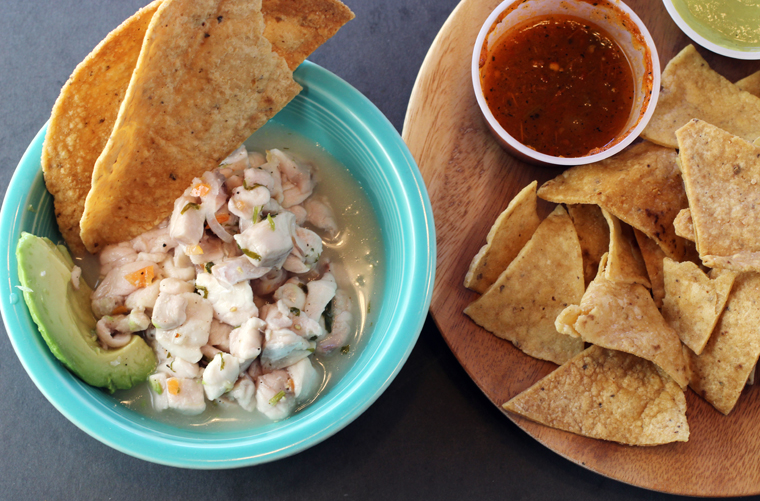 Ceviche, plus a side of chips and salsa.