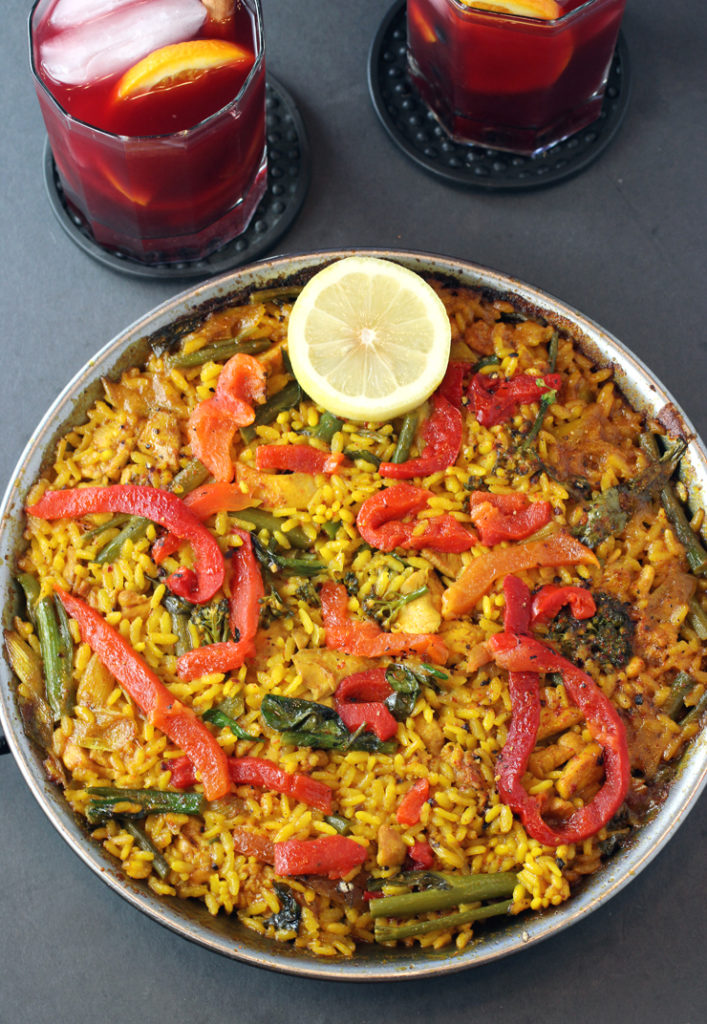My chicken, broccolini and spring garlic paella that I made with the help of Teleferic Barcelona's paella kit. With it, the restaurant's to-go red sangria.