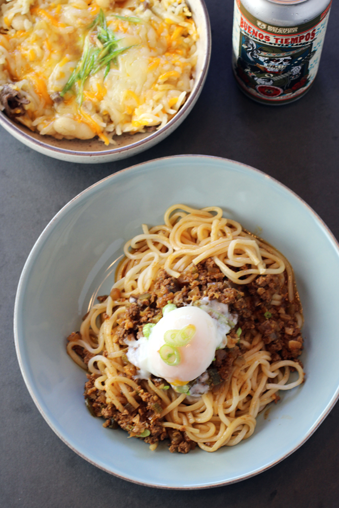 Korean Bolognese (front) and Dduck & Cheese (off to the side).