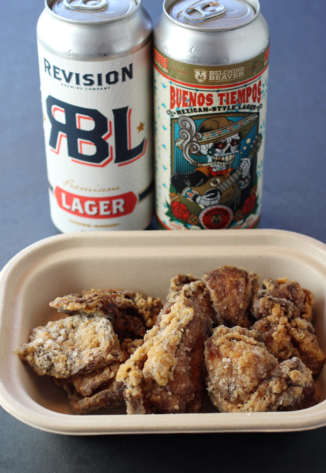 Beer and fried chicken from Tapas Tokki -- a combo that can't be beat.