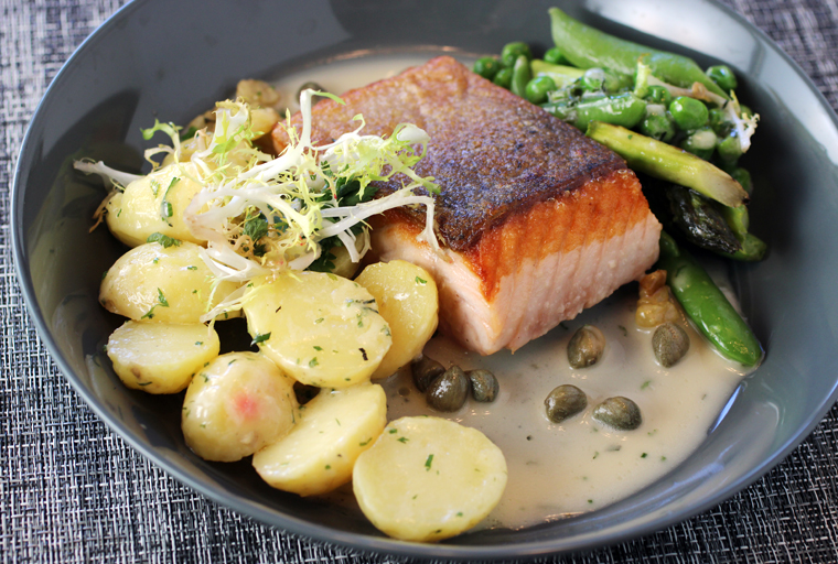 The pan-roasted salmon.