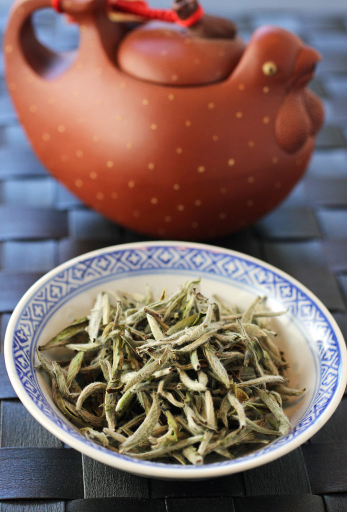 Bai Hao Yin Zhen -- young, fuzzy tea leaves just harvested in April in Fujian, China.
