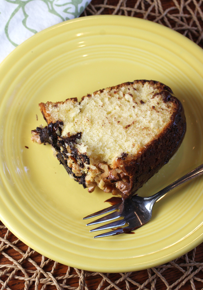 A very rich, buttery tasting cake with the crunch of nuts all over.