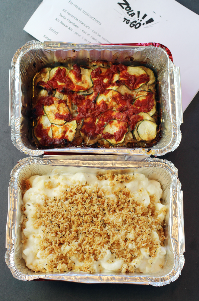 Vegetable gratin (top) and French mac 'n' cheese with Gruyere, before heating in the oven. Instructions for doing so in the sheet above.