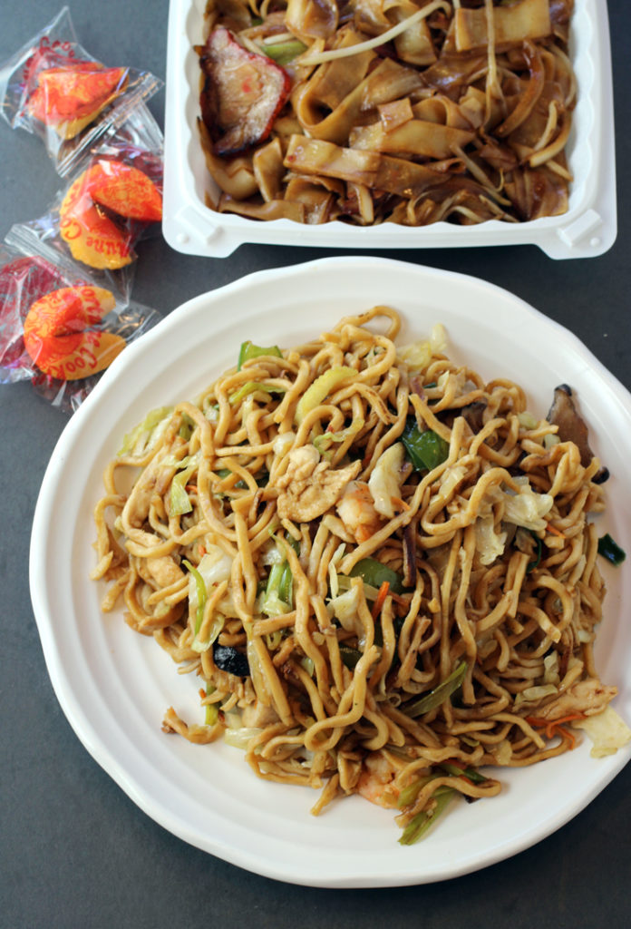 Chow fun (back) and chow mein (front) with fortune cookies from Chef Chu's.
