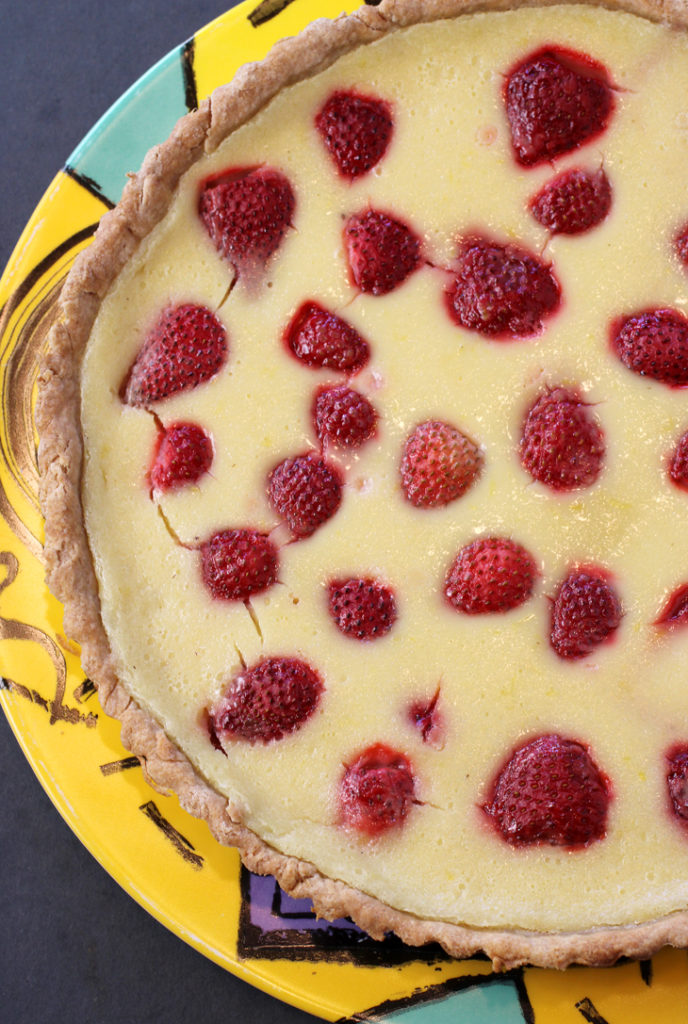 I swapped out raspberries for strawberries, and buttermilk for goat's milk kefir, to make this summery tart.