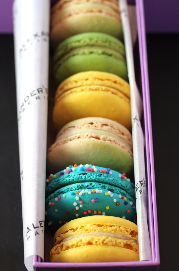 A six-piece assortment of macarons.