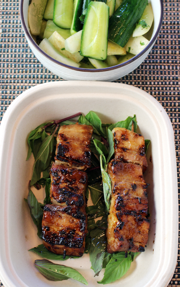 Chilled cucumbers and fabulous pork belly satay.