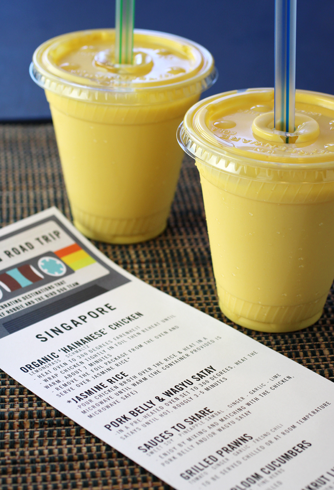 Mango lassis, plus the menu with reheating directions.