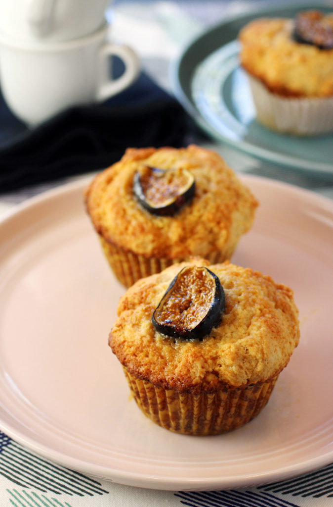 Moist and fluffy from ricotta and olive oil, these incredible muffins get crowned with a honey-drizzled fig half.