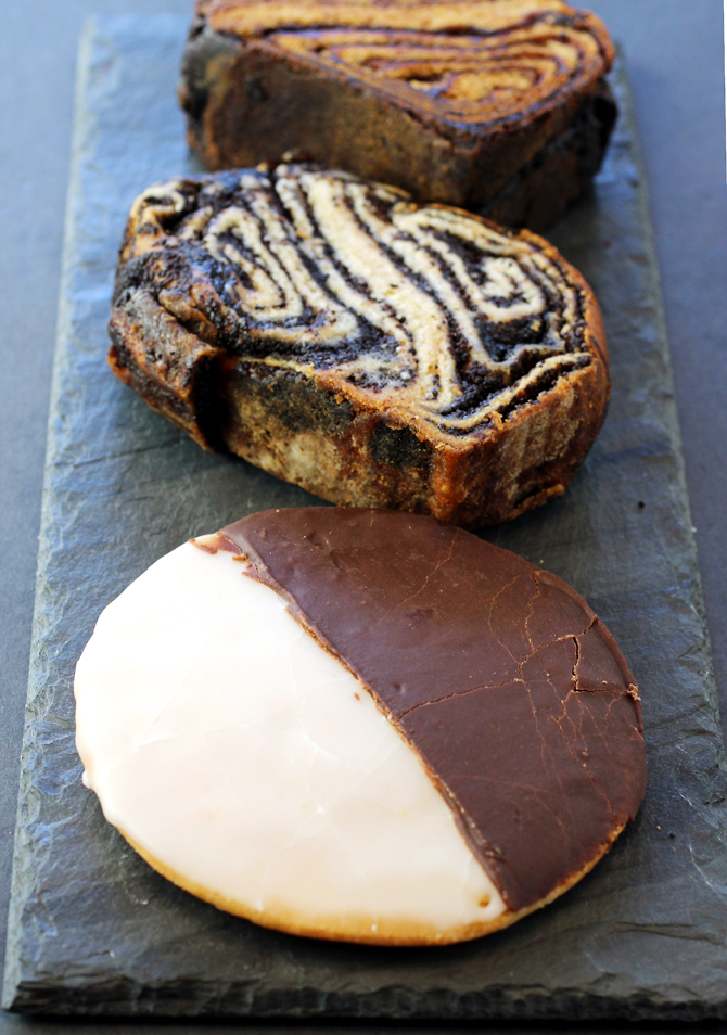 (Front to back): black & white cookie, poppy seed babka slice, and chocolate babka slice.