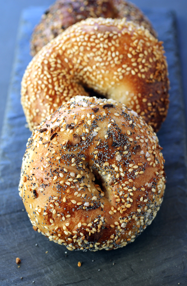 Everything and sesame bagels from Saul's for bagel perfection.