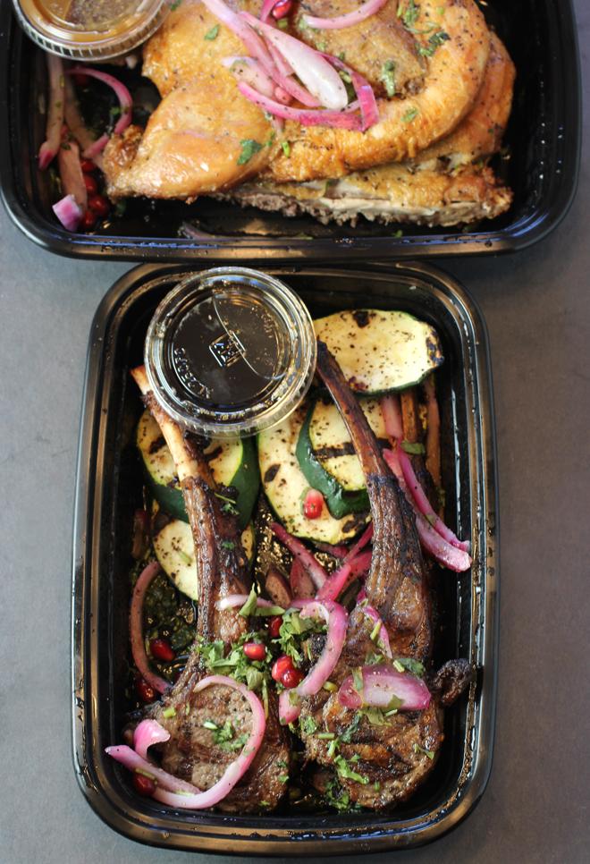 Lamb rib chops (bottom) and flattened Cornish game hen (top).