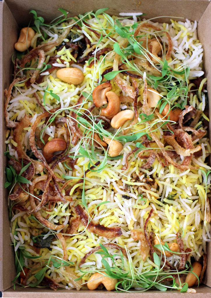 A brimming box of chicken Pulao from Ettan in Palo Alto.