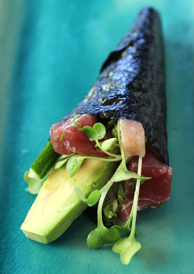 One of the hand rolls we made at home.