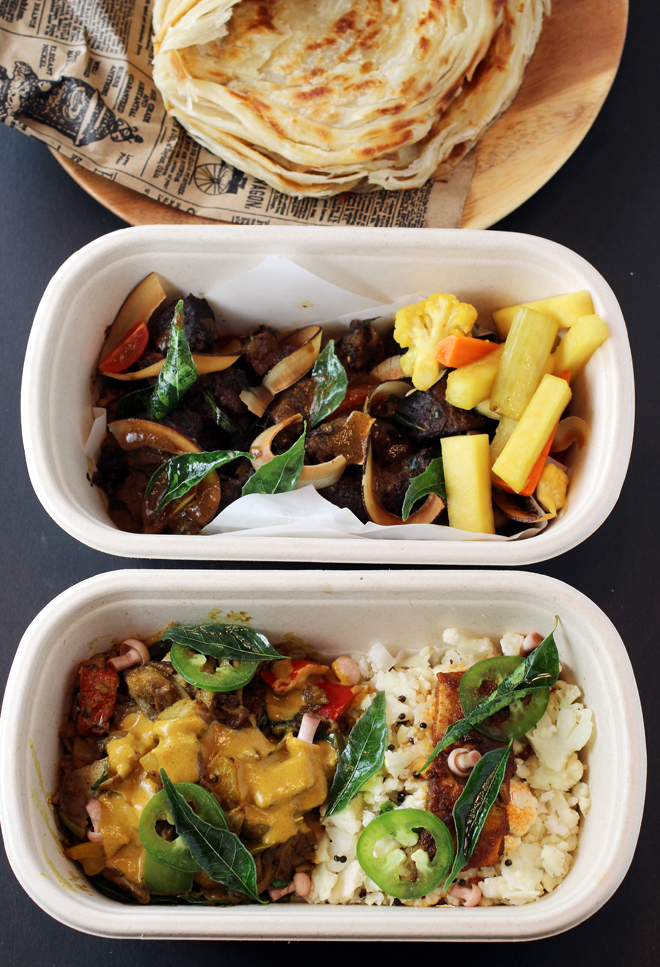 """Wild mushroom """"one pot'' (front), tava fried copra beef (center), and more of that lacy paratha (rear)."""