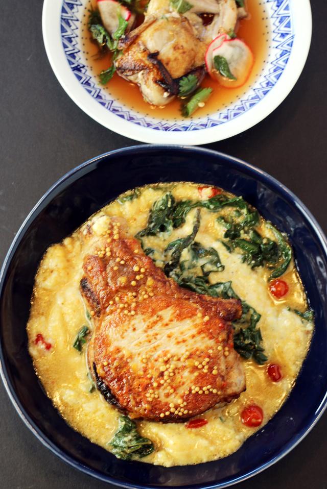 A Vietnamese-inspired quail (top) and a big, juicy pork chop (bottom).