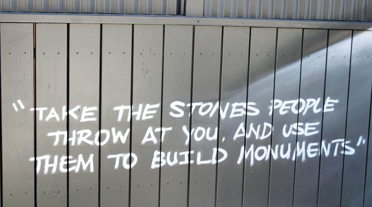 A saying that Matt Horn takes to heart that's painted on the side of the fence.