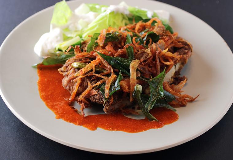 Fiery Kerala fried chicken.