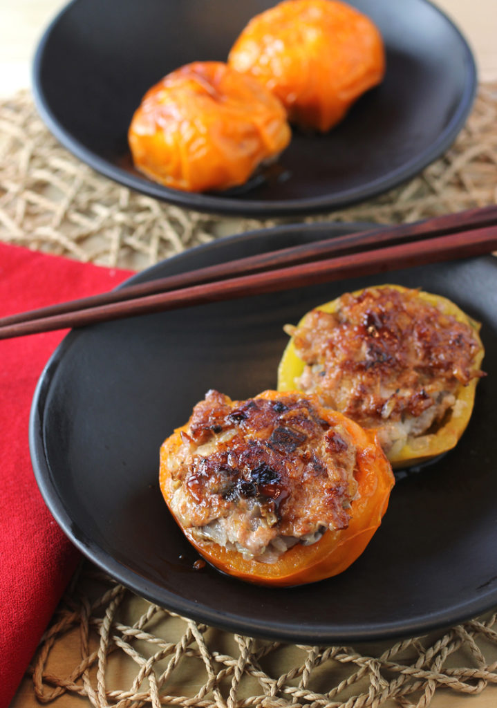 Sweet, caramelized tomatoes stuffed with a dumpling-like pork mixture.