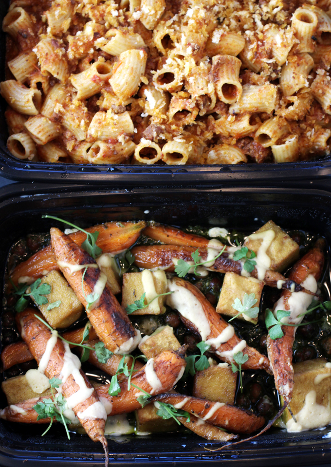 Maccheroni with pork ragu (top), and chickpea panisse (bottom).