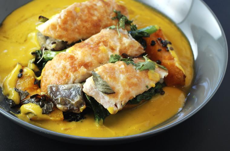 Rock cod in a hubbard squash sauce.