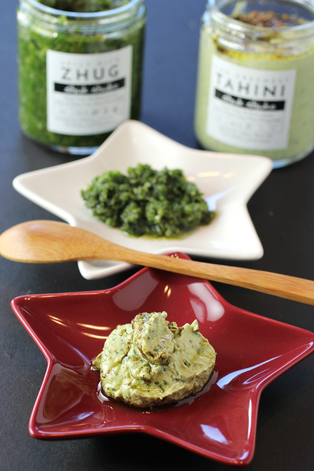 The Greenest Tahini (front) and Spicy Kick Zhug (back).