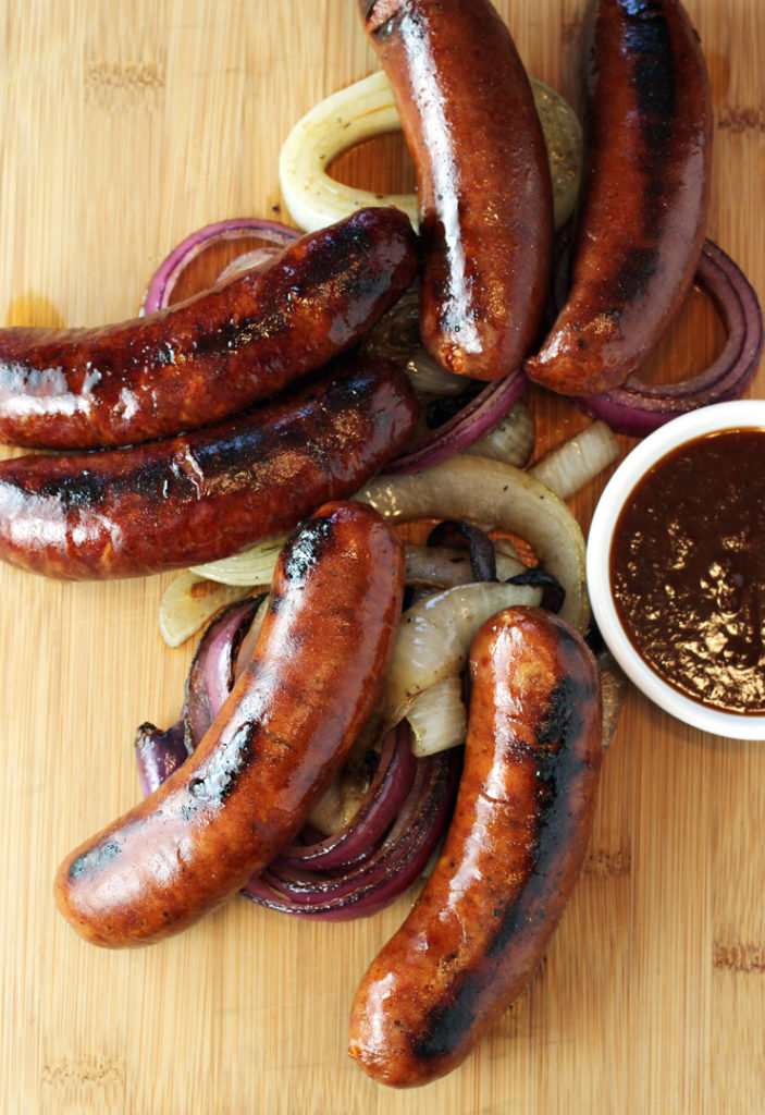 Juicy, snappy sausages from East Bay company, Urban Flavors Gourmet.