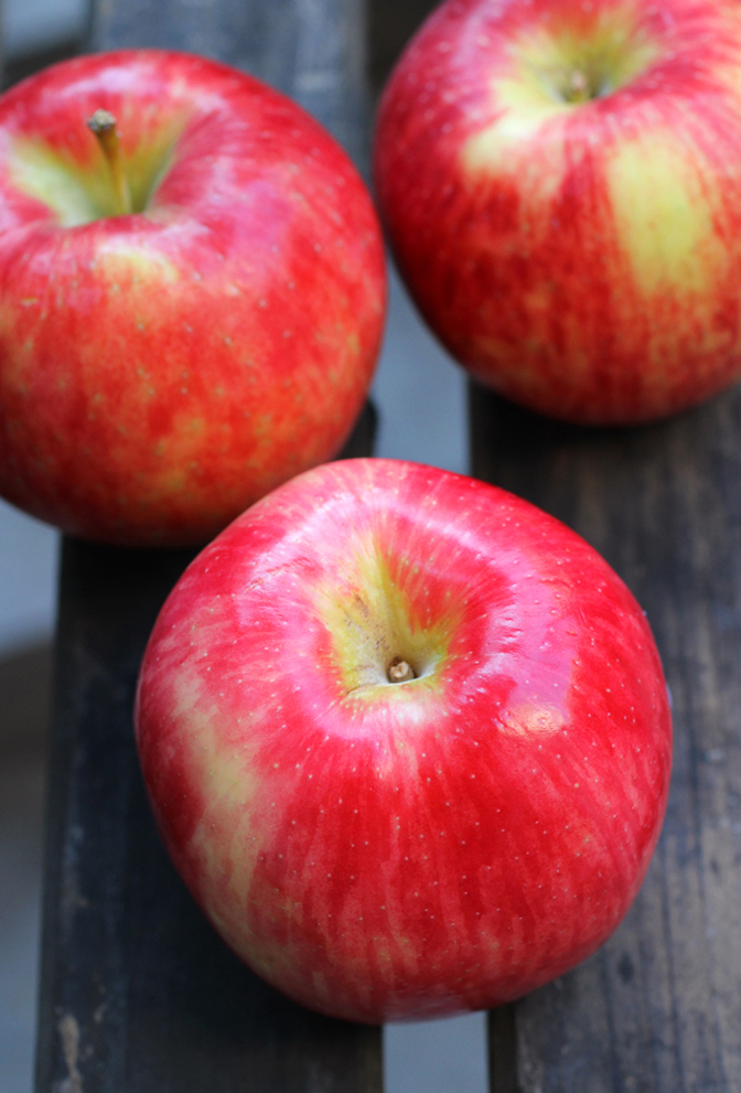 Red-skinned with a cream-colored flesh, Pazazz apples are available at Albertsons.