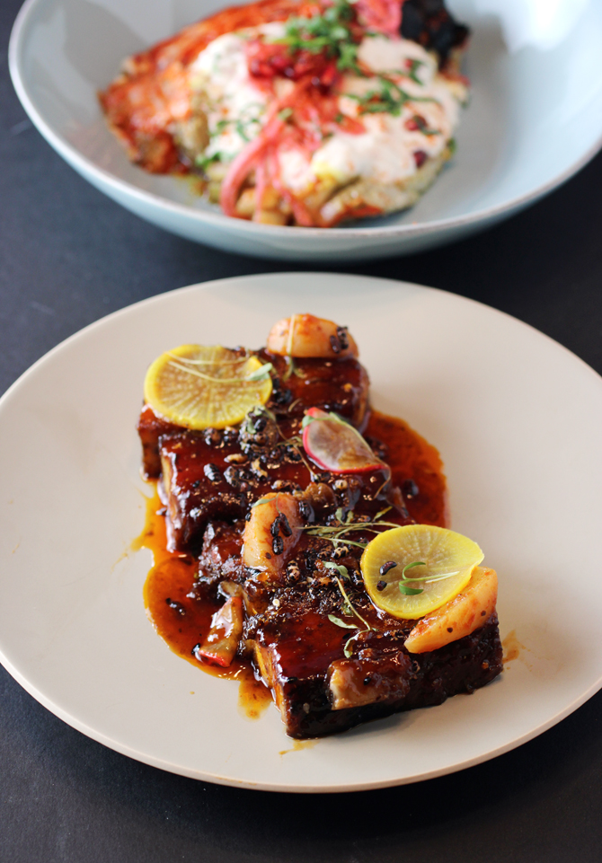 Pork belly (front), and roasted eggplant (back).