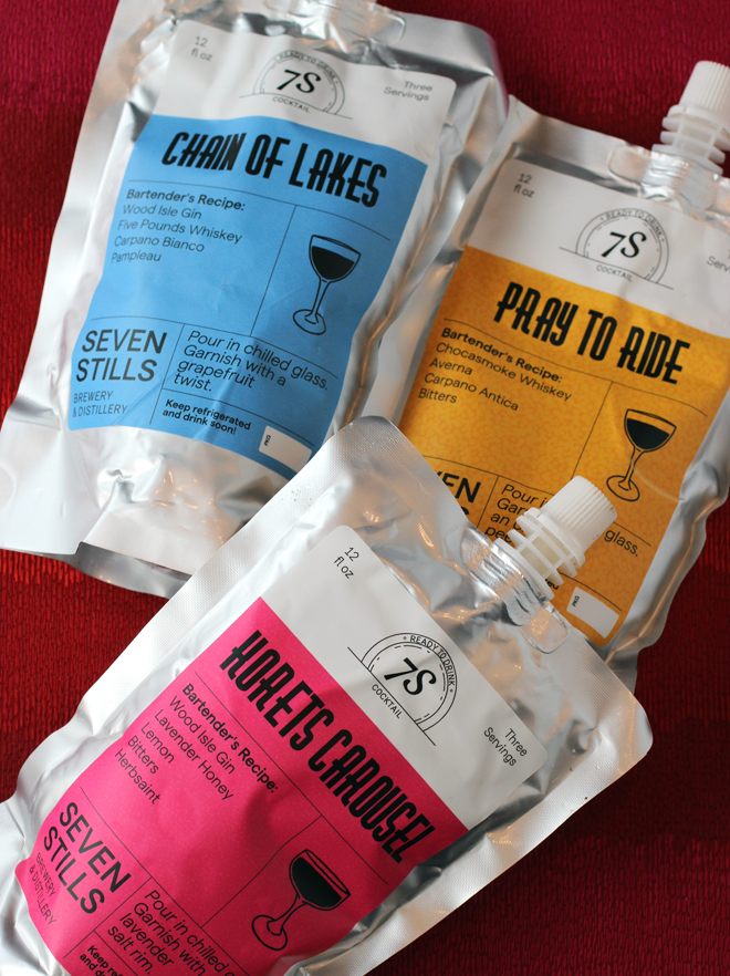 Each pouch contains the equivalent of three cocktails.