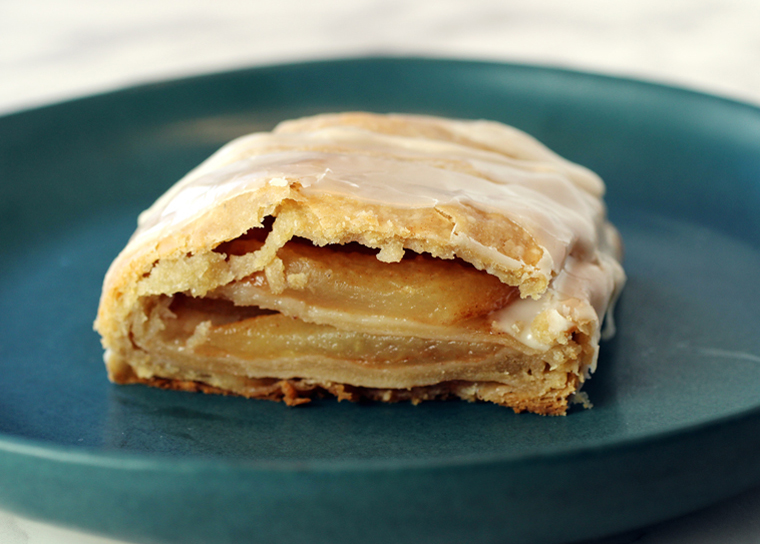 You can see the layers of apples and pastry inside.