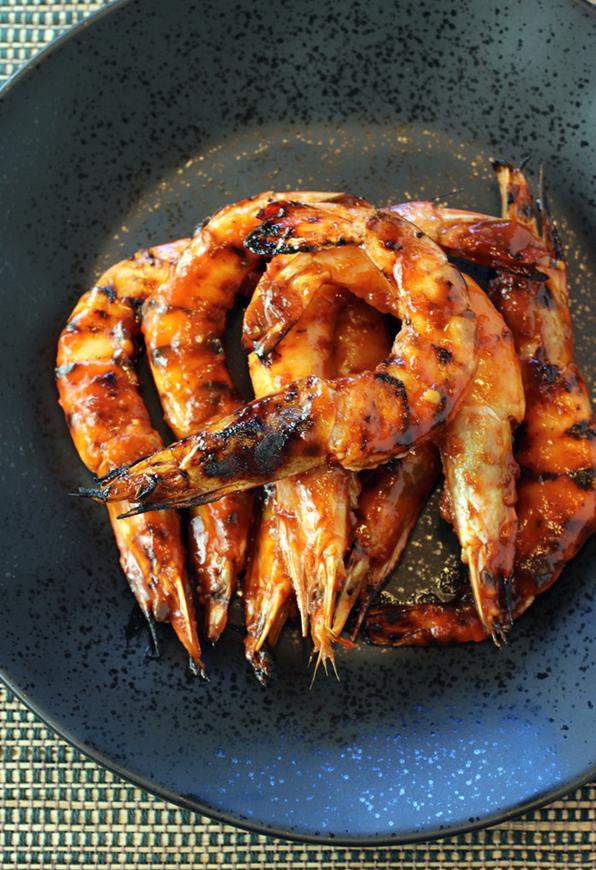 Singaporean sweet-spicy-sticky jumbo prawns from Bird Dog.