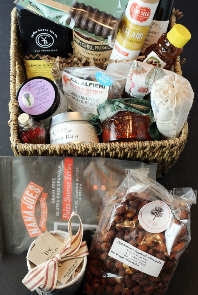 The treasure trove of Bay Area-made products in the large holiday box designed by Farm Box. (Basket not included.)