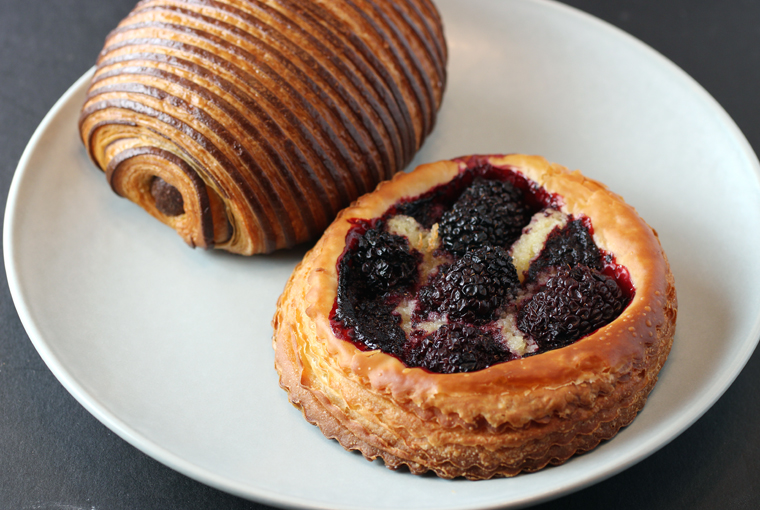 Gianduja-chocolate croissant, and blackberry nest.