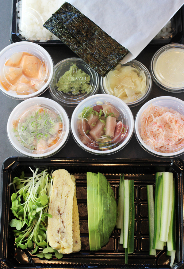 Contents of the Fukuoka Hand Roll Kit to-go from Ozumo.