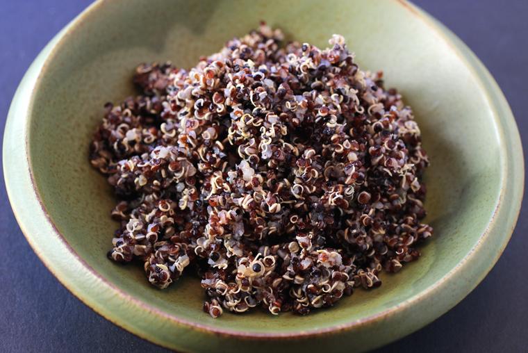 Cooked rainbow quinoa.