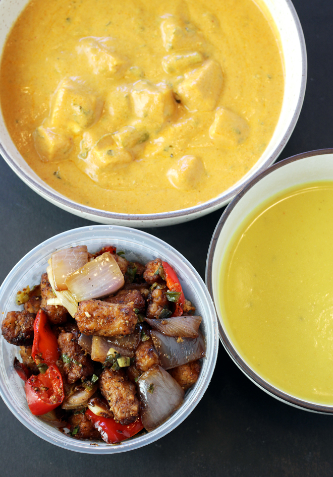 (Clockwise from top): paneer korma, pumpkin and coconut soup, and baby corn and pepper stir-fry.