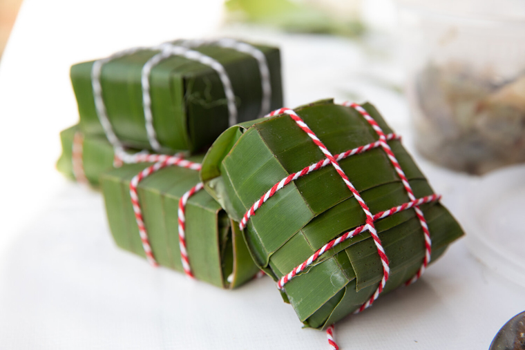 Festive packages of sticky rice dumplings. (Photo courtesy of the Banh Chung Collective)