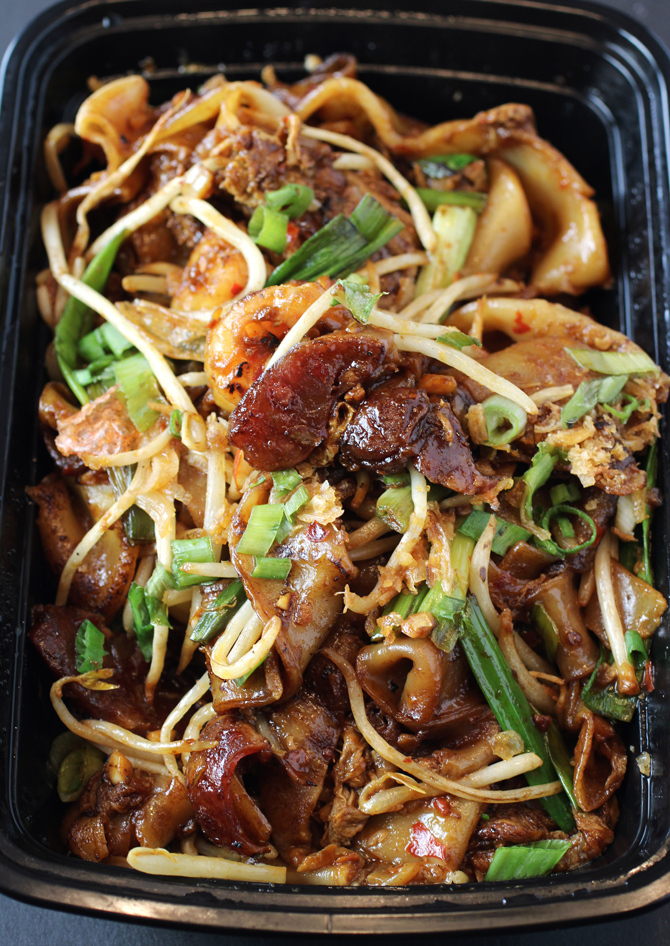 Chinese sausage and shrimp get tossed with fat, supple rice noodles.