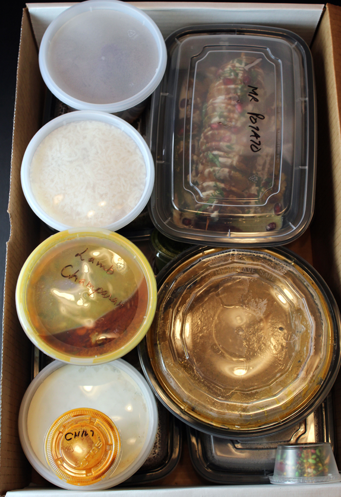 All the takeout food comes packed in a large heavy-duty box.