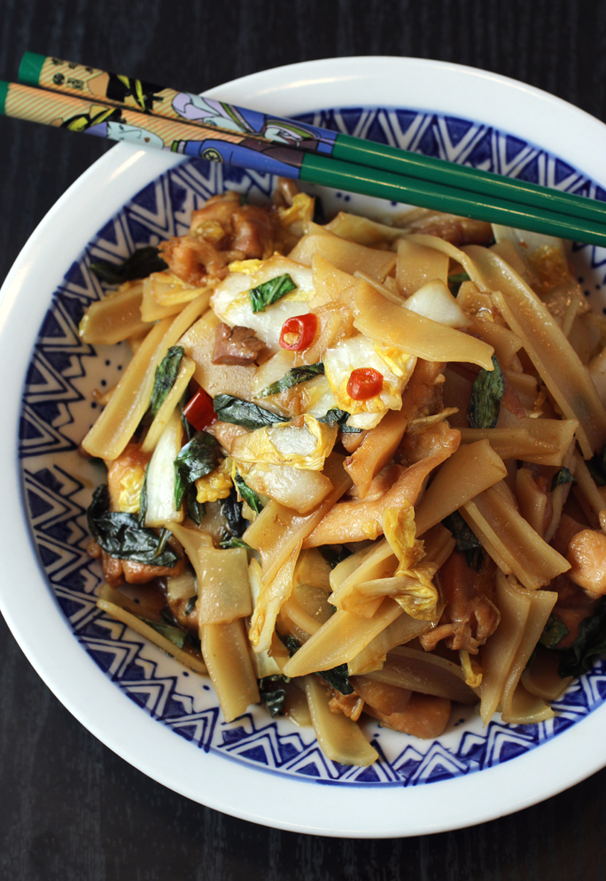 Keep packages of dried rice noodles in your pantry to make this anytime on a whim.