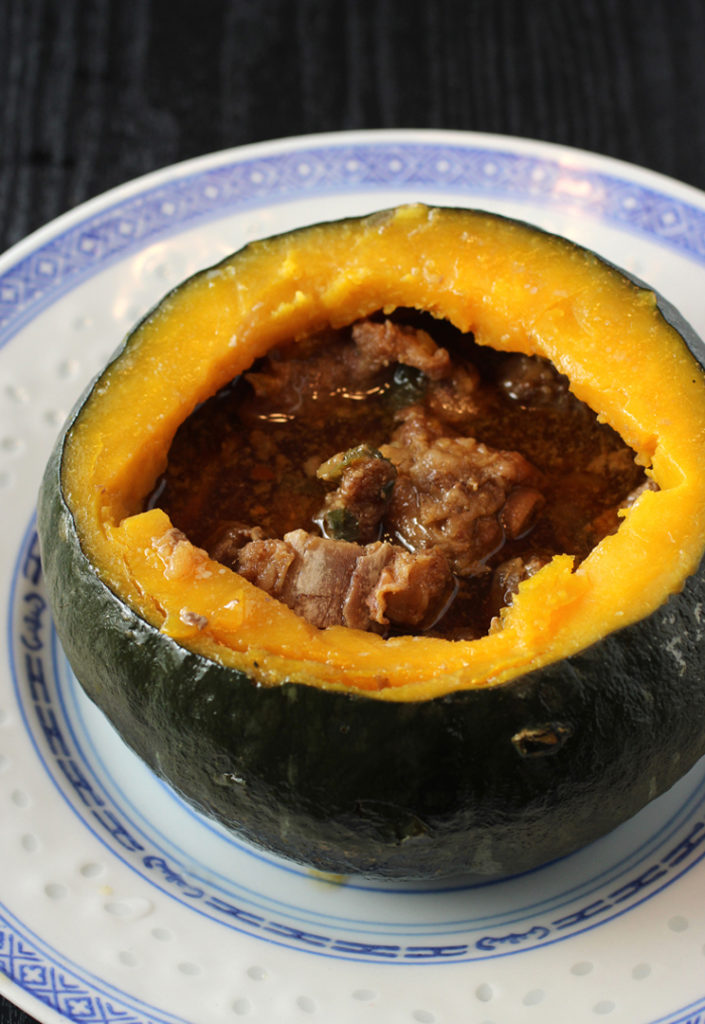 A dramatic and delicious sparerib-stuffed kabocha squash from China Stix.