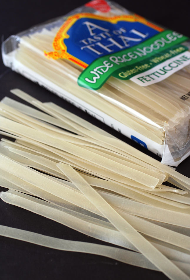 The wide, dried rice noodles.
